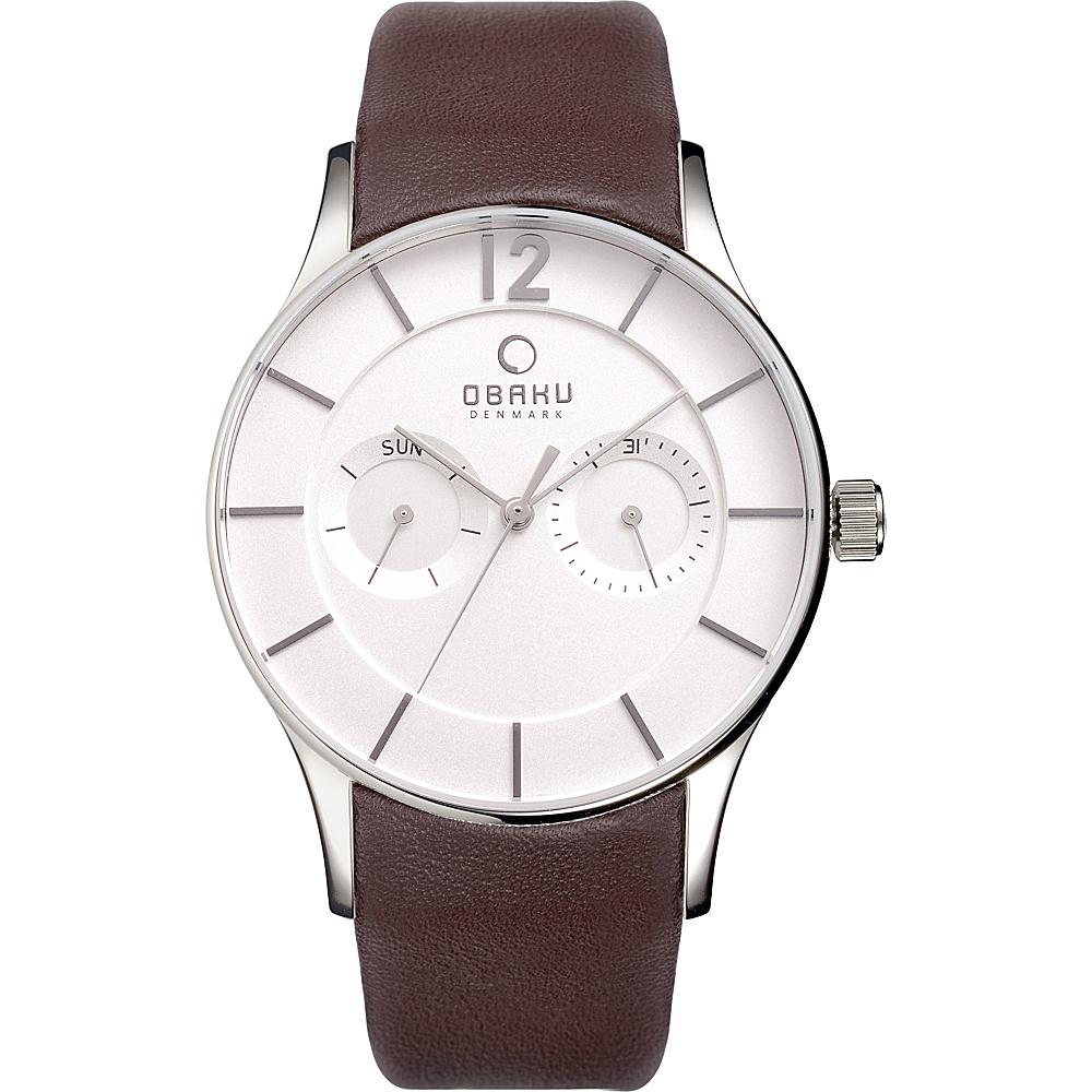 Obaku Watches Mens Multifunction Leather Watch Brown Silver Obaku Watches Watches