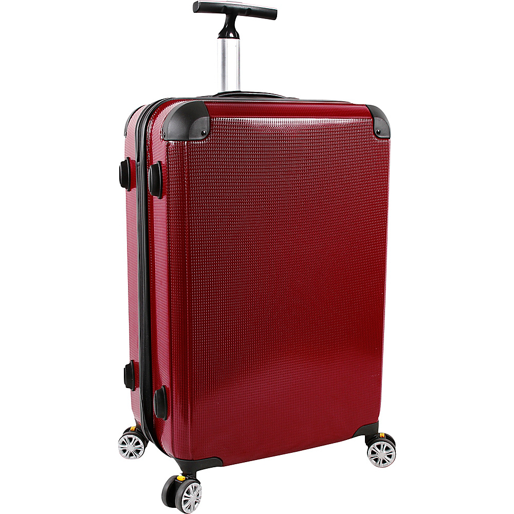J World New York Cruz 24 inch Hardside Spinner Luggage Red - J World New York Hardside Checked - Luggage, Hardside Checked