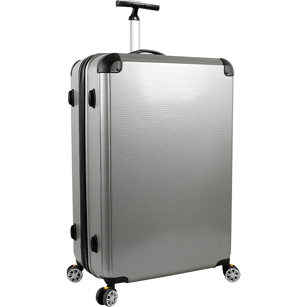 J World New York Cruz 24 inch Hardside Spinner Luggage Silver - J World New York Hardside Checked - Luggage, Hardside Checked