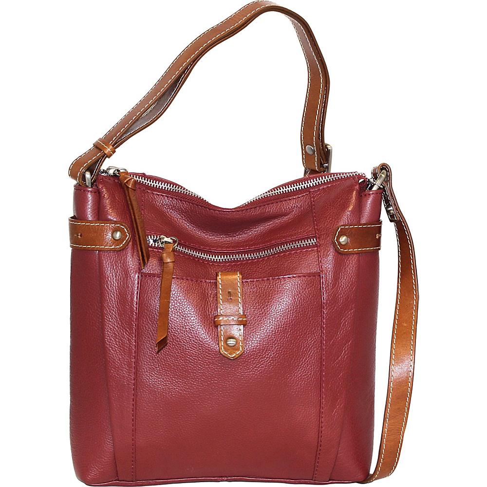 Nino Bossi Jasmine Bloom Crossbody Cabernet - Nino Bossi Leather Handbags - Handbags, Leather Handbags