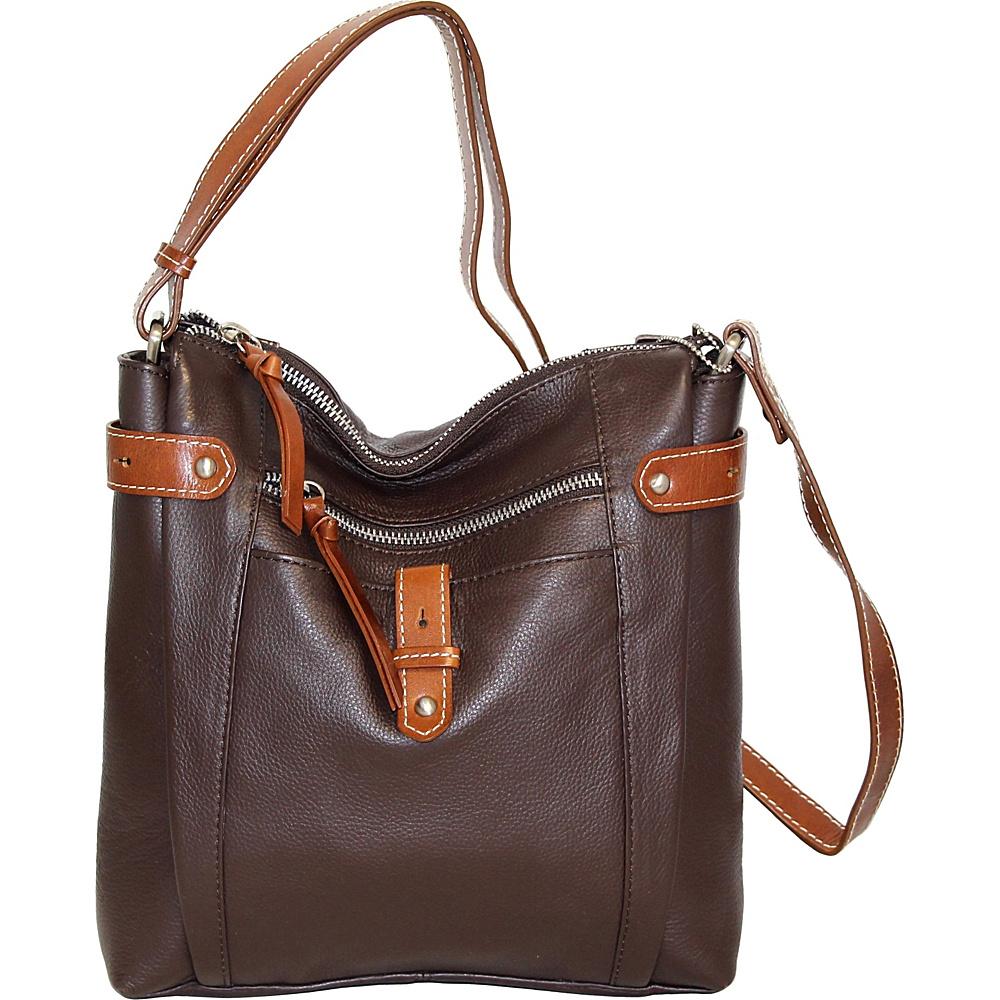 Nino Bossi Jasmine Bloom Crossbody Chocolate - Nino Bossi Leather Handbags - Handbags, Leather Handbags