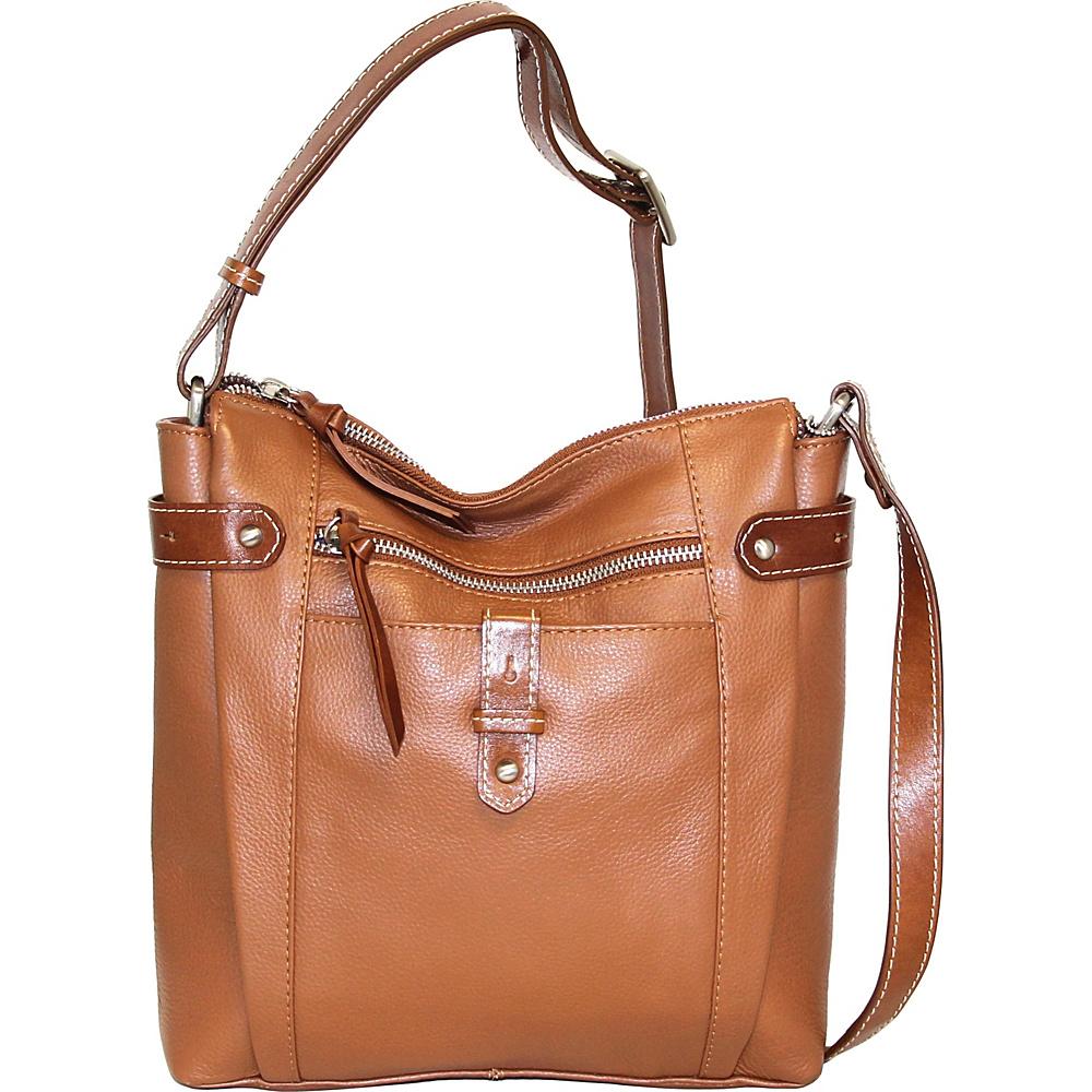 Nino Bossi Jasmine Bloom Crossbody Cognac - Nino Bossi Leather Handbags - Handbags, Leather Handbags