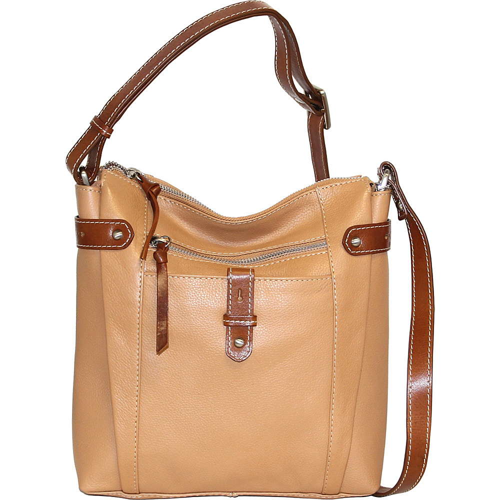Nino Bossi Jasmine Bloom Crossbody Peanut - Nino Bossi Leather Handbags - Handbags, Leather Handbags