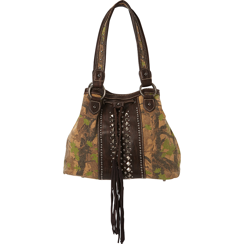 Montana West Camo Print Handbag with Studs Green Coffee Montana West Fabric Handbags