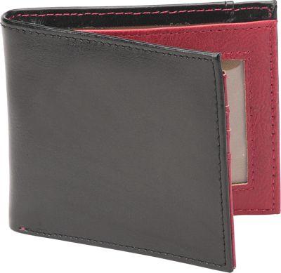 1Voice The Vault RFID Blocking Leather Wallet Textured Black/Burgundy Interior - 1Voice Men's Wallets