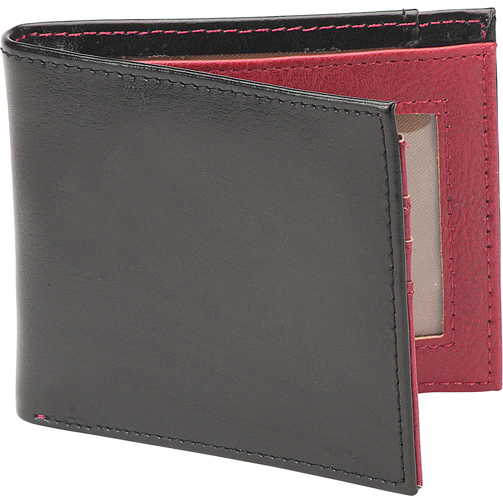1Voice The Vault RFID Blocking Leather Wallet Textured Black Burgundy Interior 1Voice Men s Wallets