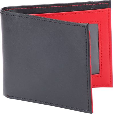 1Voice The Vault RFID Blocking Leather Wallet Black with Red Interior - 1Voice Men's Wallets