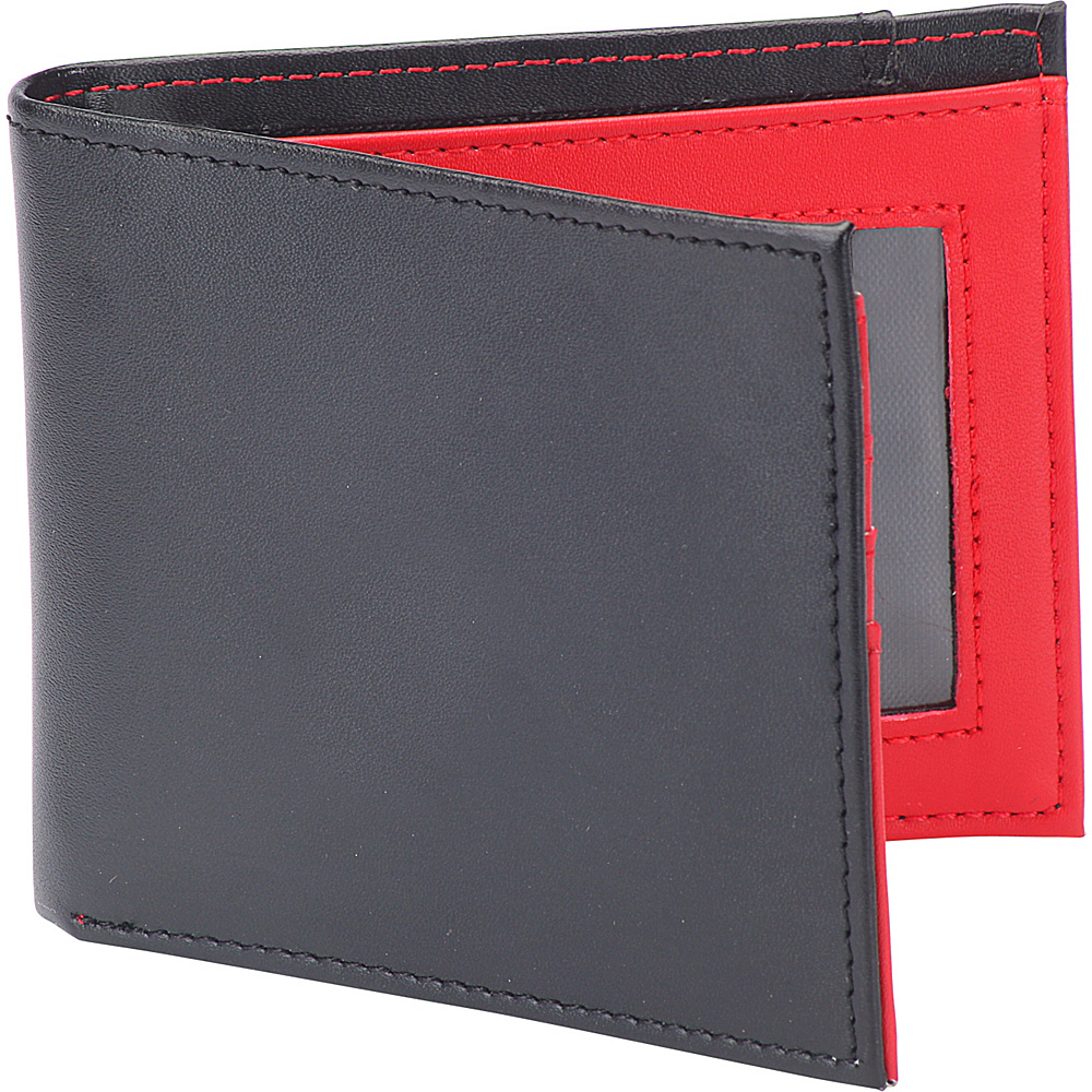 1Voice The Vault RFID Blocking Leather Wallet Black with Red Interior 1Voice Men s Wallets
