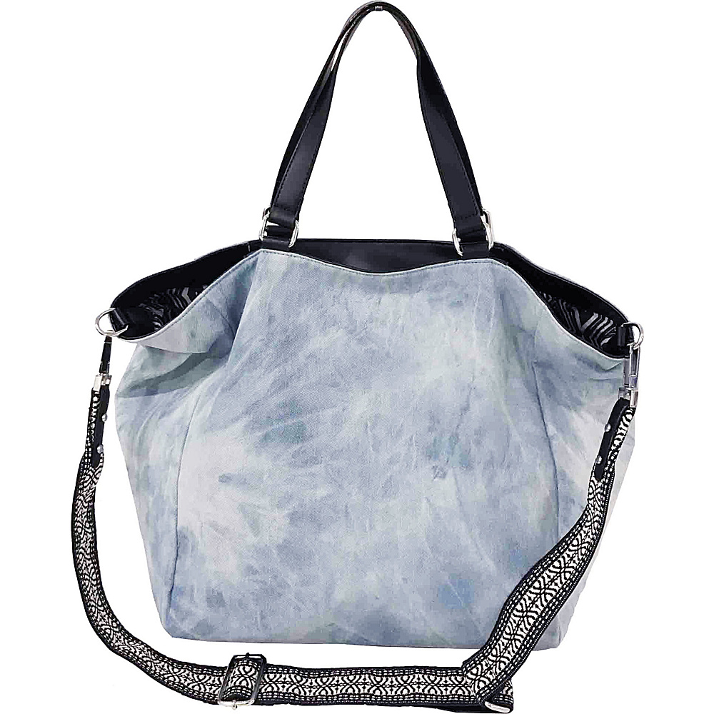 Sanctuary Handbags Downtown Tote Washed Denim Black Vachetta Sanctuary Handbags Designer Handbags