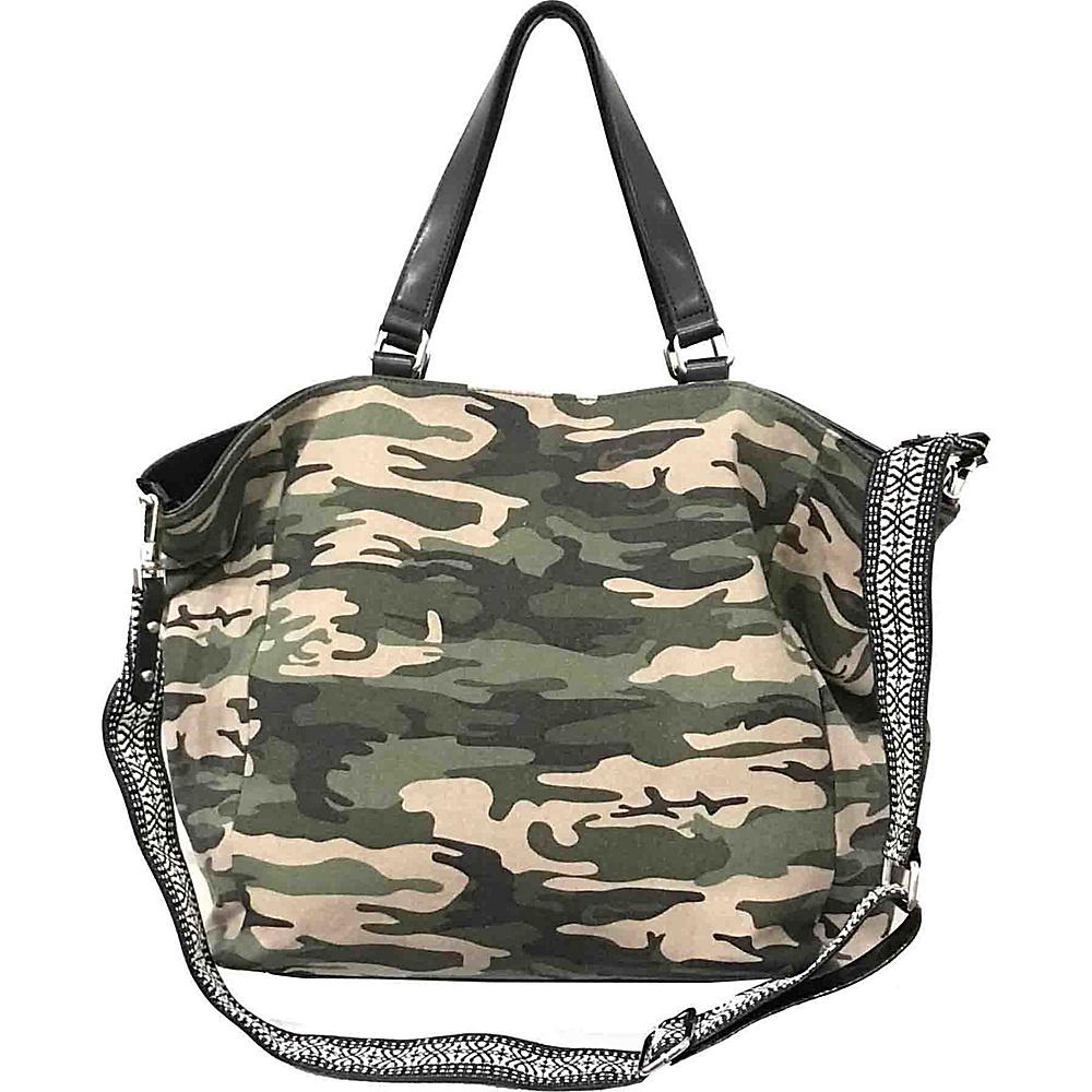 Sanctuary Handbags Downtown Tote Camo Canvas Black Vachetta Sanctuary Handbags Designer Handbags
