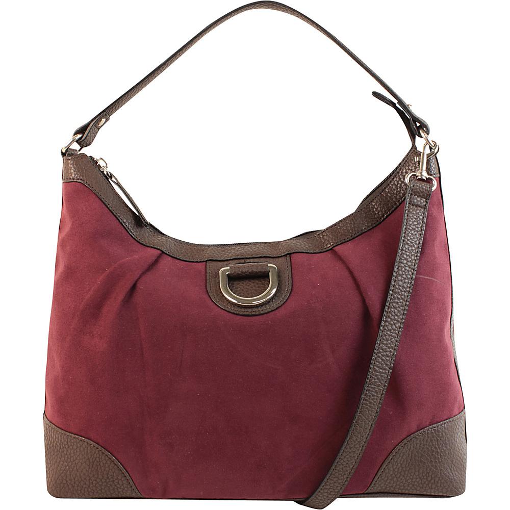 Emilie M Sydney Suede Hobo Plum Emilie M Manmade Handbags