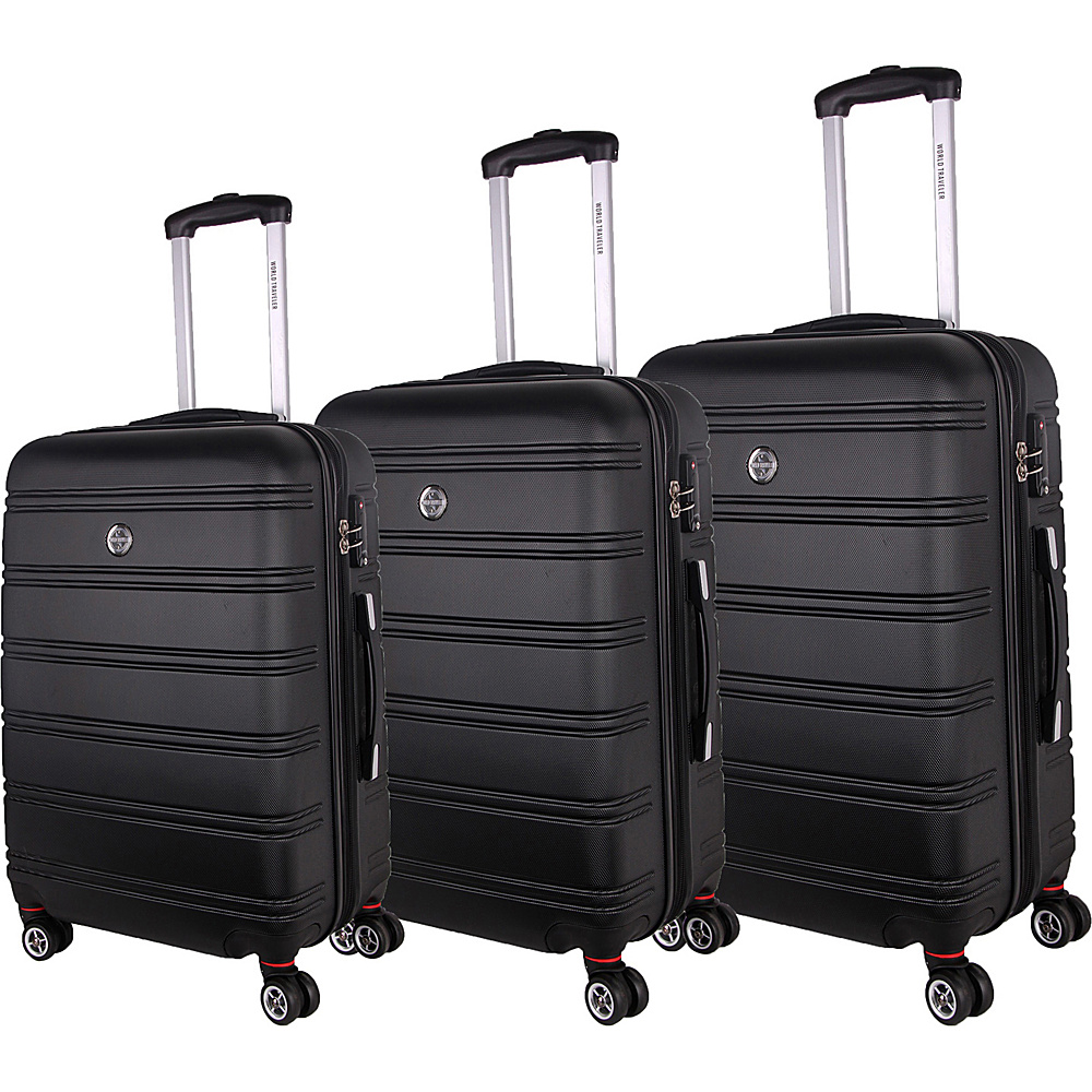 World Traveler Montreal 3-Piece Hardside Spinner Luggage Set Black - World Traveler Luggage Sets - Luggage, Luggage Sets