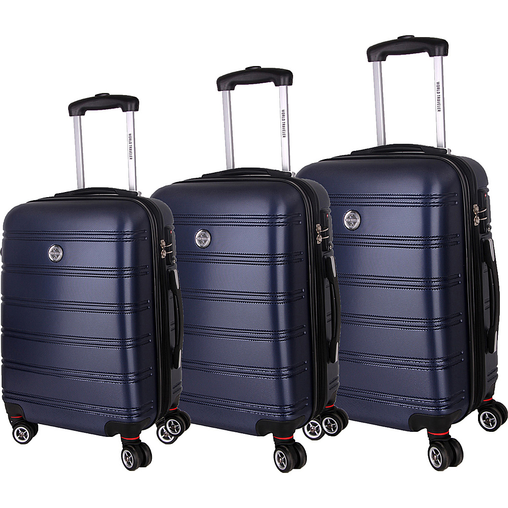 World Traveler Montreal 3-Piece Hardside Spinner Luggage Set Blue - World Traveler Luggage Sets - Luggage, Luggage Sets