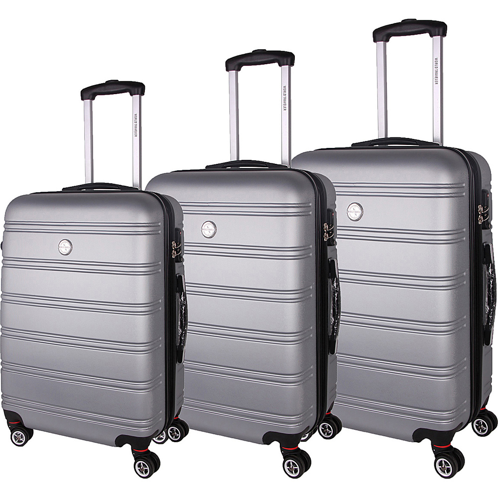 World Traveler Montreal 3-Piece Hardside Spinner Luggage Set Silver - World Traveler Luggage Sets - Luggage, Luggage Sets