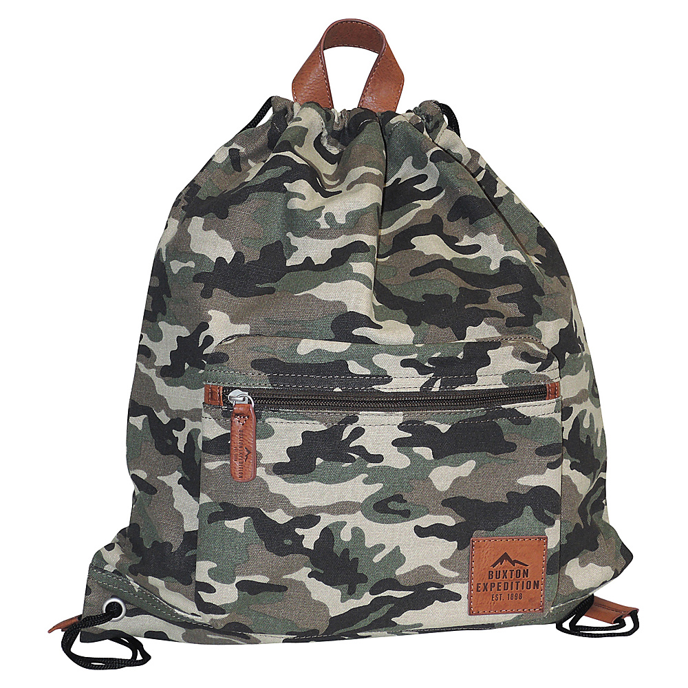 Buxton Expedition II Huntington Gear Drawstring Backpack Camouflage - Buxton Everyday Backpacks - Backpacks, Everyday Backpacks