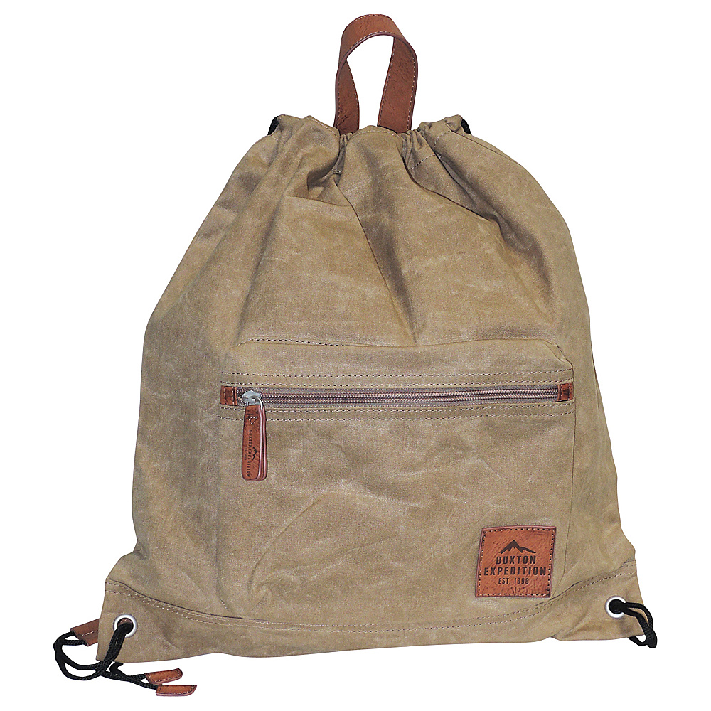 Buxton Expedition II Huntington Gear Drawstring Backpack Tan - Buxton Everyday Backpacks - Backpacks, Everyday Backpacks
