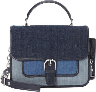 MICHAEL Michael Kors Cooper Large Denim Satchel Indigo/Light Denim/White Denim - MICHAEL Michael Kors Designer Handbags