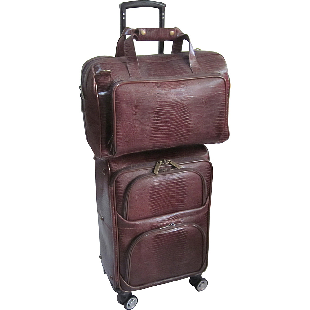 AmeriLeather 2 Piece Spinner Traveler Set Brown Lizard - AmeriLeather Luggage Sets - Luggage, Luggage Sets
