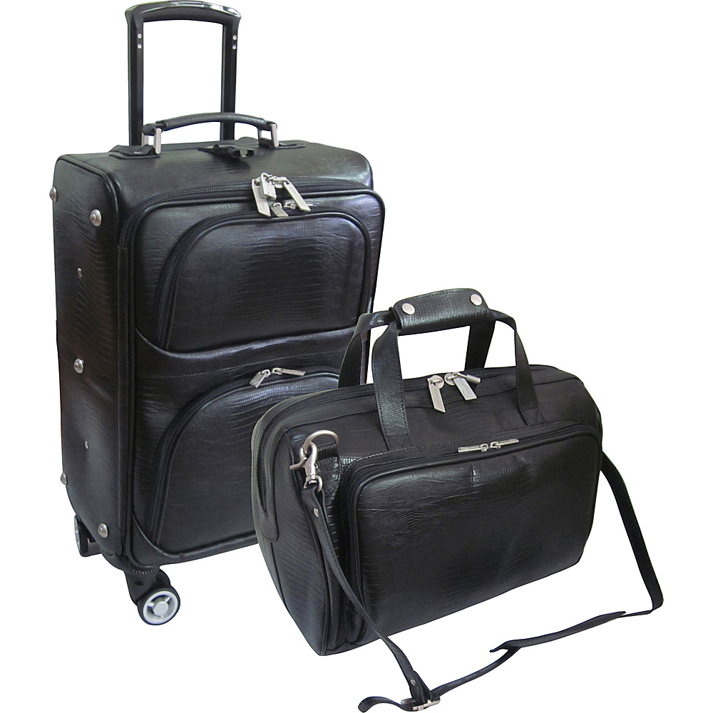 AmeriLeather 2 Piece Spinner Traveler Set Black Lizard Print - AmeriLeather Luggage Sets - Luggage, Luggage Sets