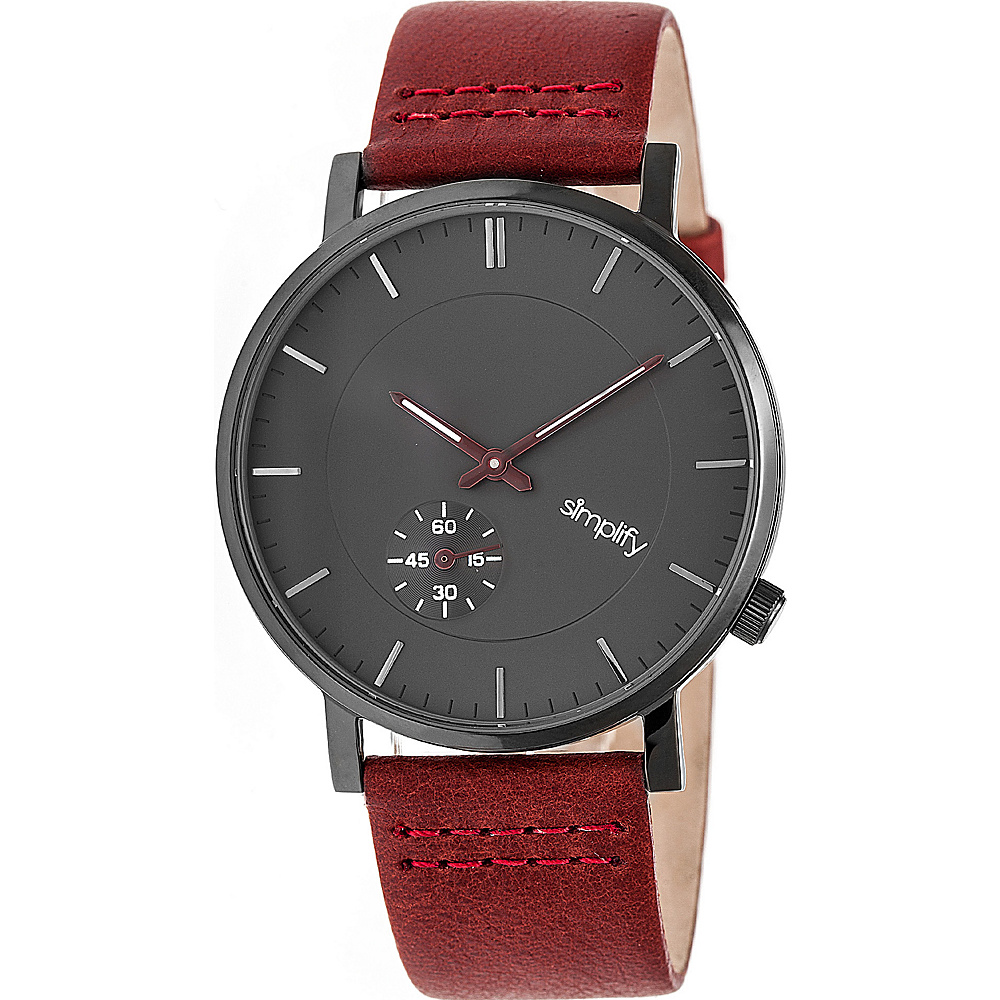 Simplify The 3600 Unisex Watch Maroon Gunmetal Charcoal Simplify Watches