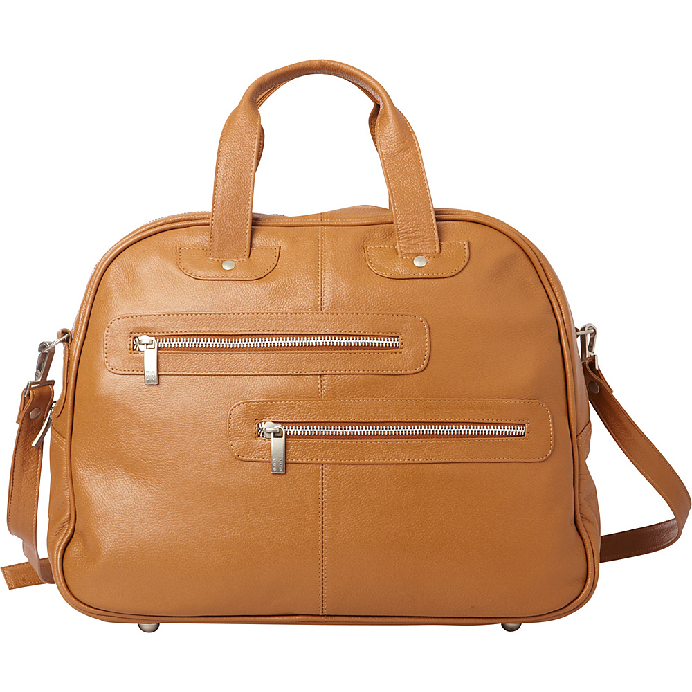 Piel Double Zip-Pocket Leather Satchel Saddle - Piel Leather Handbags - Handbags, Leather Handbags