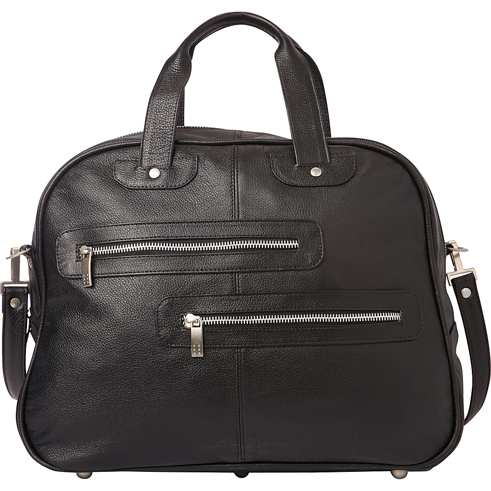 Piel Double Zip-Pocket Leather Satchel Black - Piel Leather Handbags - Handbags, Leather Handbags