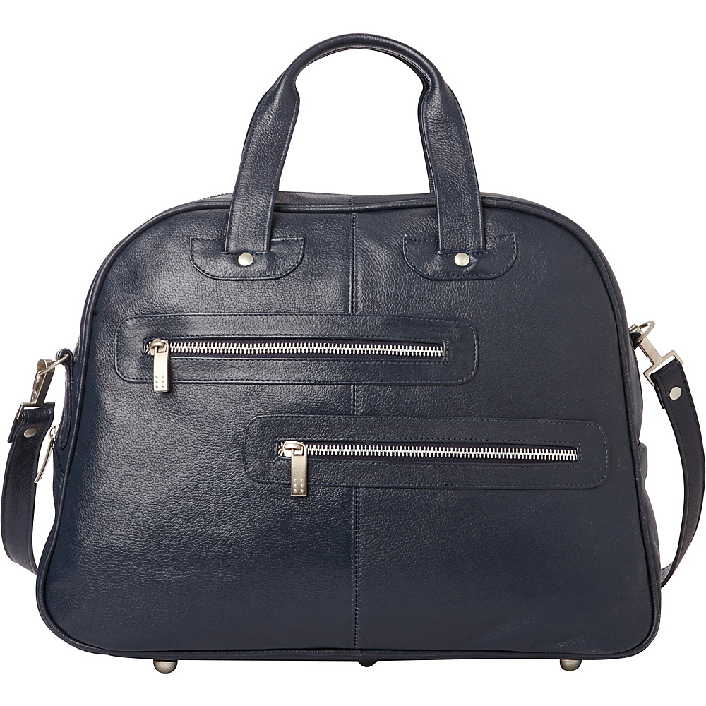 Piel Double Zip-Pocket Leather Satchel Navy - Piel Leather Handbags - Handbags, Leather Handbags