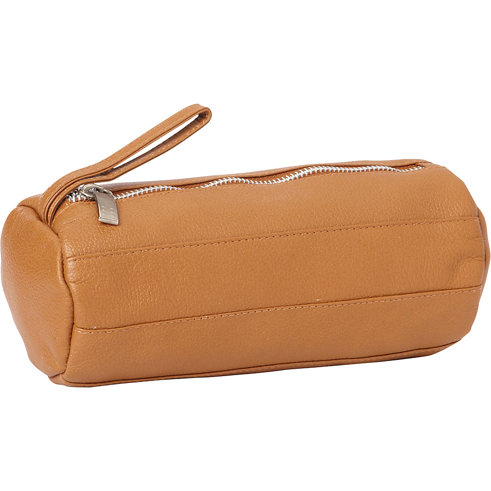 Piel Leather Cylinder Cosmetic Bag Saddle - Piel Womens SLG Other - Women's SLG, Women's SLG Other