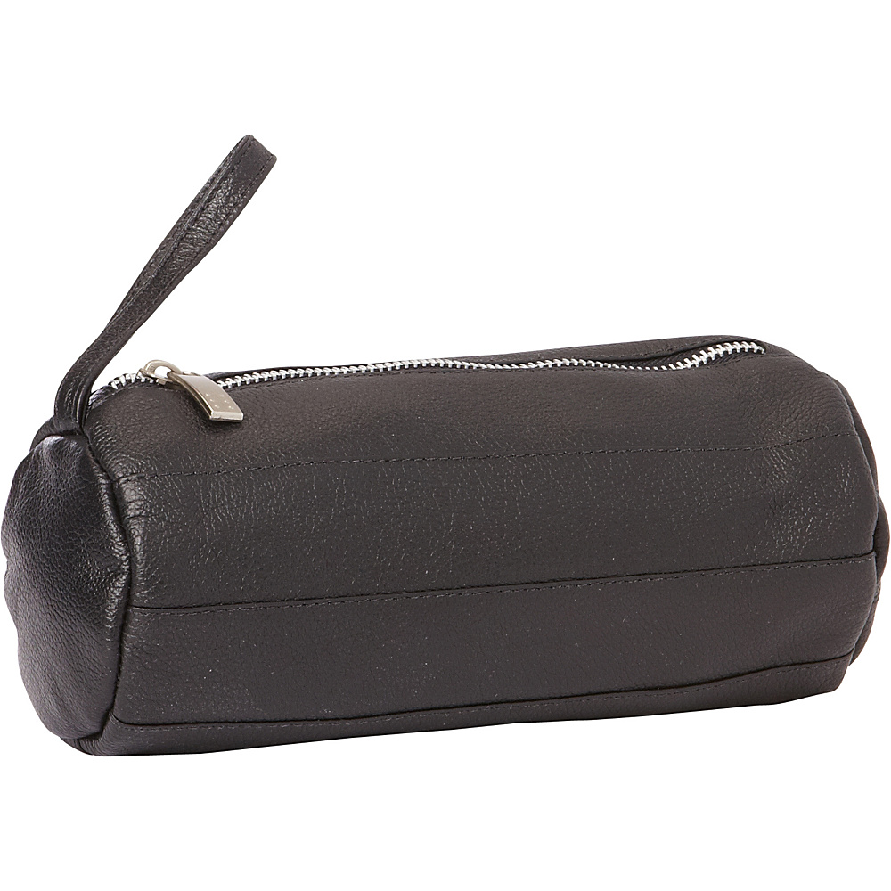 Piel Leather Cylinder Cosmetic Bag Black - Piel Womens SLG Other - Women's SLG, Women's SLG Other