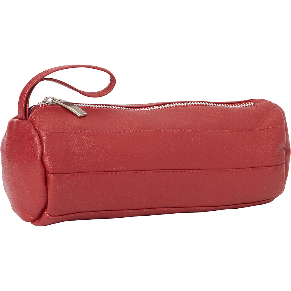 Piel Leather Cylinder Cosmetic Bag Red - Piel Womens SLG Other - Women's SLG, Women's SLG Other