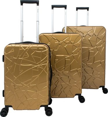 Chariot Crystal 3 Pc Hardside Spinner Set Gold - Chariot Luggage Sets