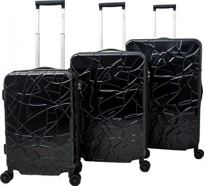 Chariot Crystal 3 Pc Hardside Spinner Set Black - Chariot Luggage Sets