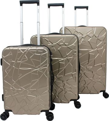 Chariot Crystal 3 Pc Hardside Spinner Set Champagne - Chariot Luggage Sets