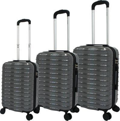 Chariot Wave 3 Pc Hardside Spinner Set Grey - Chariot Luggage Sets