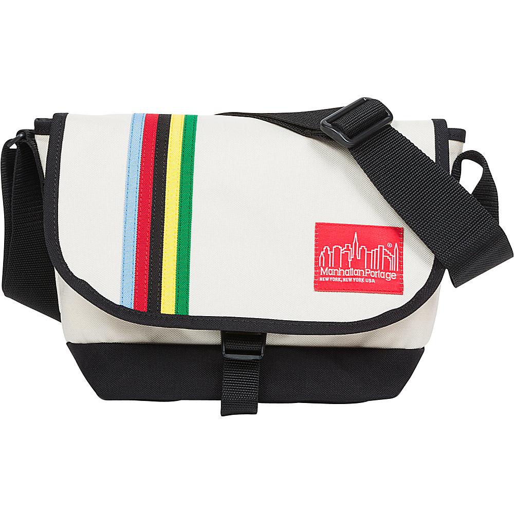 Manhattan Portage Rainbow Stripes Nylon Messenger Bag Jr Ivory - Manhattan Portage Messenger Bags - Work Bags & Briefcases, Messenger Bags