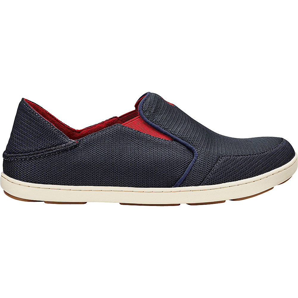 OluKai Mens Nohea Mesh Slip-On 12 - Carbon/Deep Red - OluKai Mens Footwear - Apparel & Footwear, Men's Footwear