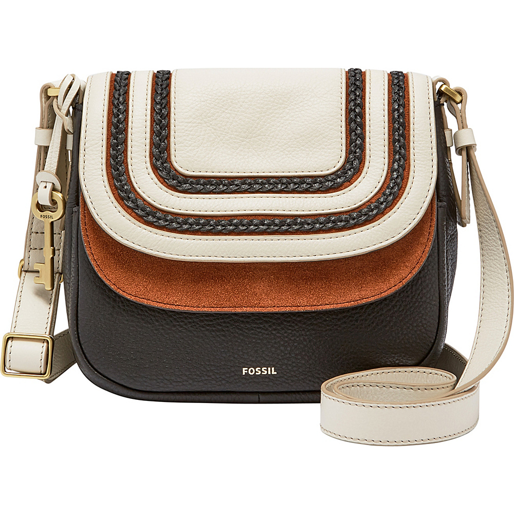 Fossil Peyton Small Double Flap Crossbody Black/White - Fossil Leather Handbags