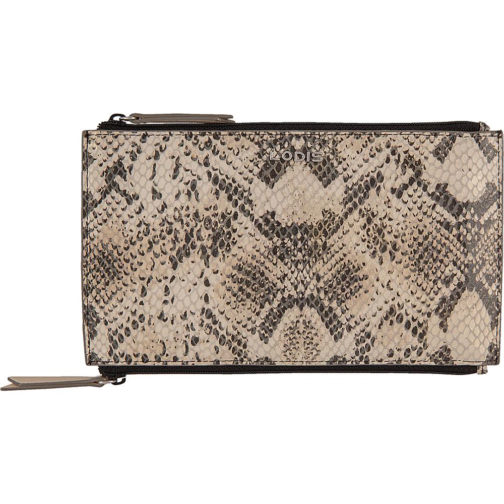 Lodis Kate Exotic Lani Double Zip Pouch Black/Taupe - Lodis Womens Wallets - Women's SLG, Women's Wallets