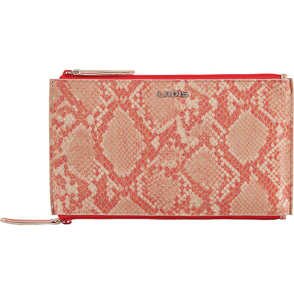 Lodis Kate Exotic Lani Double Zip Pouch Pink/Cream - Lodis Womens Wallets - Women's SLG, Women's Wallets