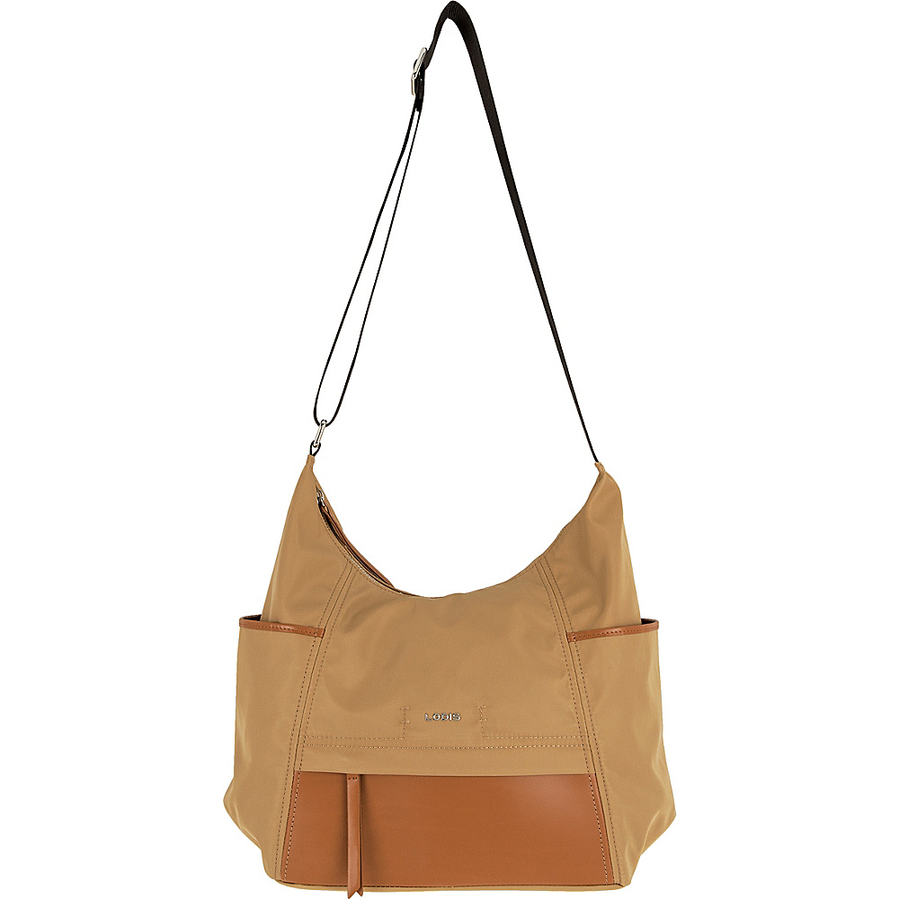 Lodis Kate Nylon Under Lock & Key Olga Hobo Light Brown - Lodis Fabric Handbags - Handbags, Fabric Handbags