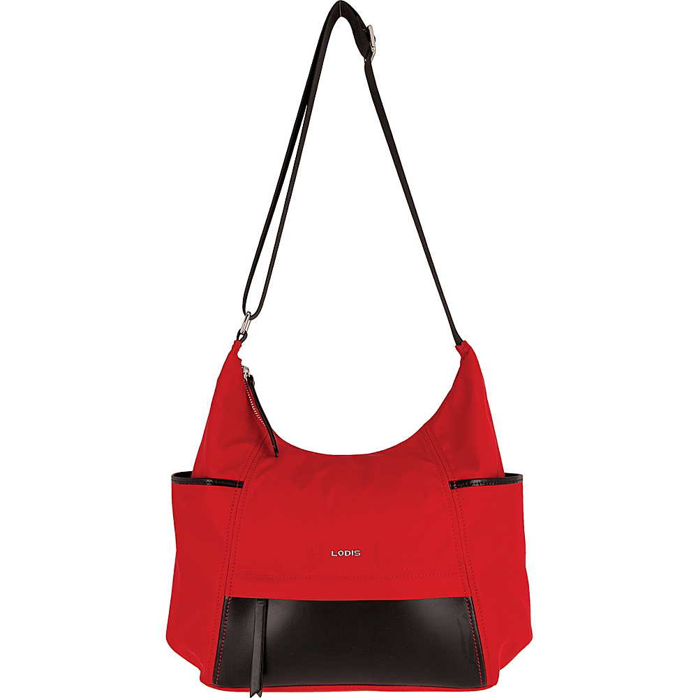 Lodis Kate Nylon Under Lock & Key Olga Hobo Red - Lodis Fabric Handbags - Handbags, Fabric Handbags