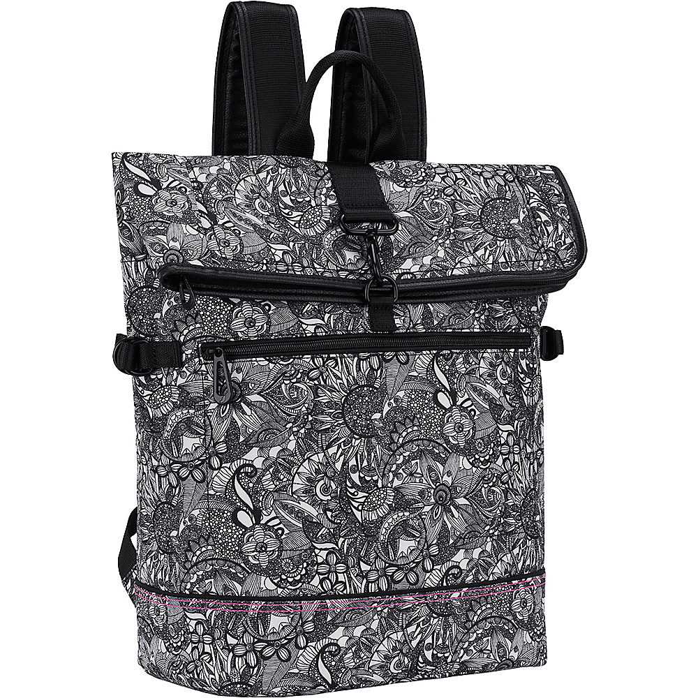 Sakroots New Adventure Explorer Roll Top Backpack Black & White Spirit Desert - Sakroots Everyday Backpacks - Backpacks, Everyday Backpacks