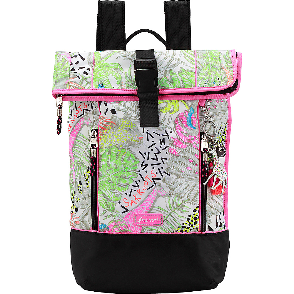 Sakroots Kota Vista Rolltop Backpack Neon Wildlife - Sakroots Laptop Backpacks - Backpacks, Laptop Backpacks