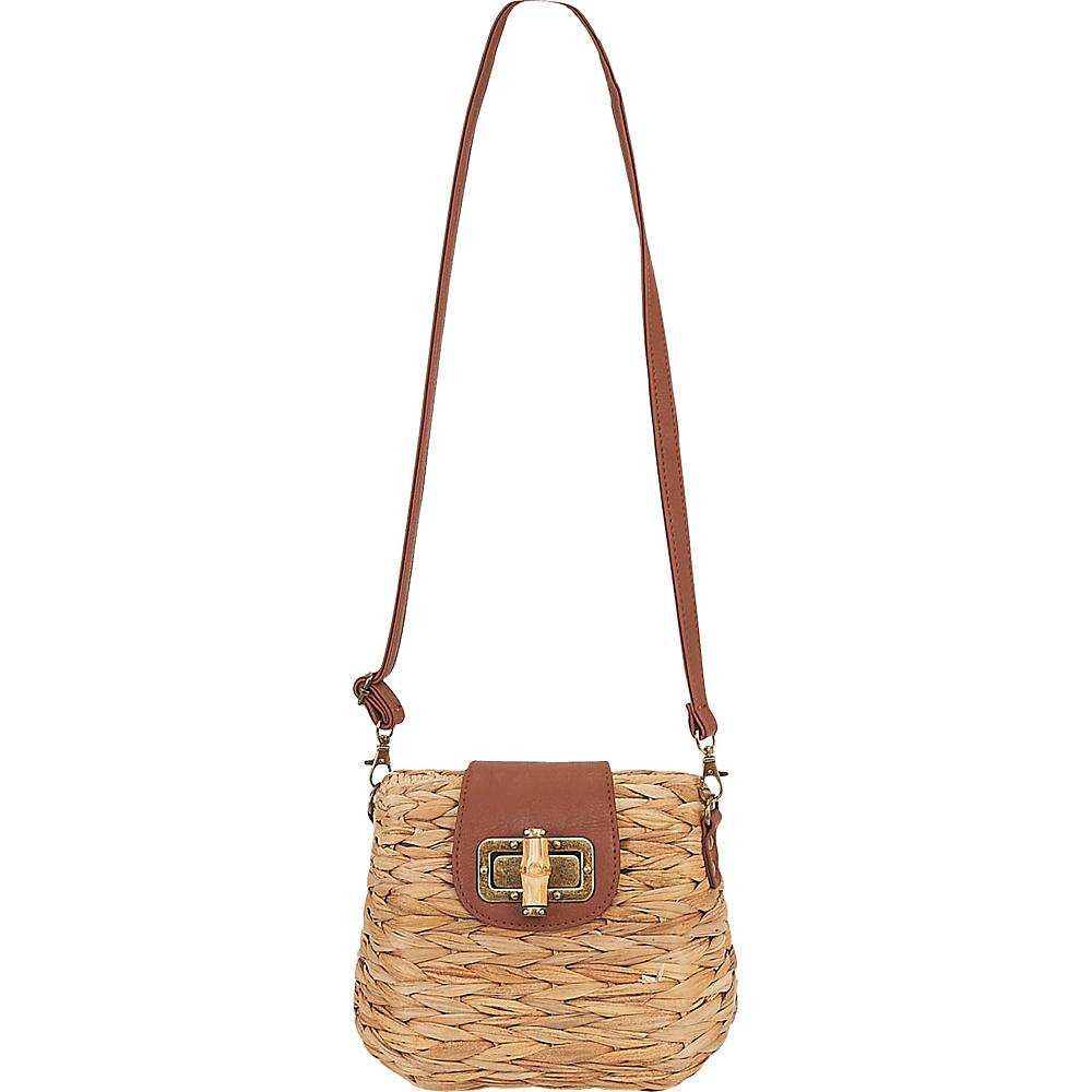 Sun N Sand Natural Straw Mini Crossbody Tan - Sun N Sand Straw Handbags - Handbags, Straw Handbags