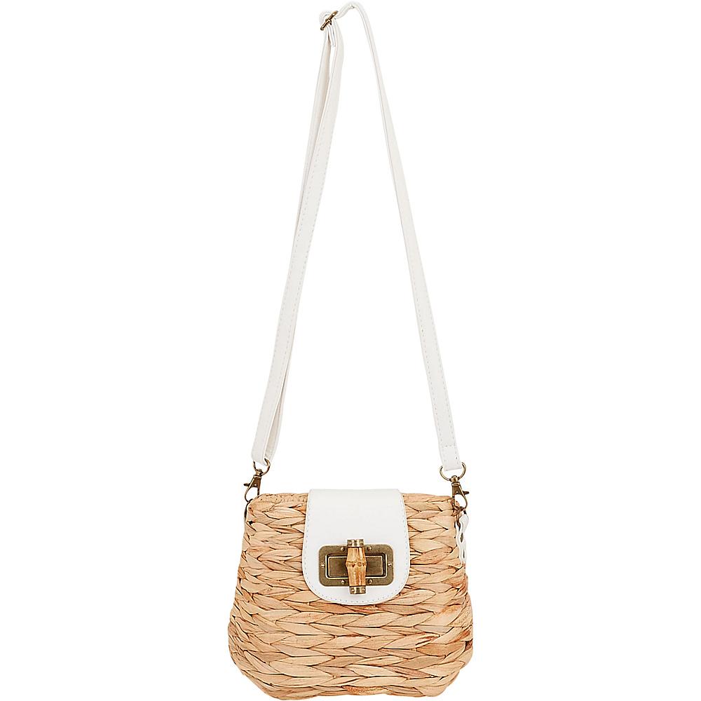 Sun N Sand Natural Straw Mini Crossbody White - Sun N Sand Straw Handbags - Handbags, Straw Handbags