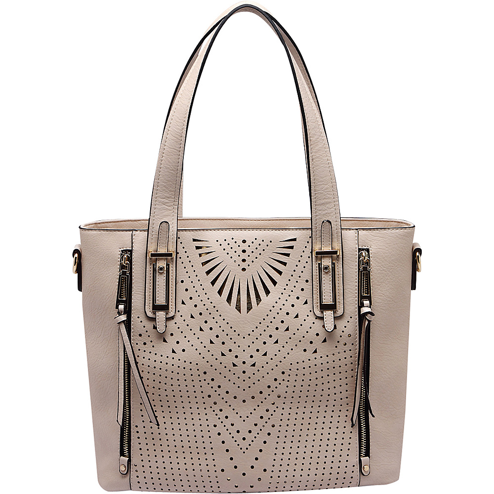 MKF Collection by Mia K. Farrow Faye Drive Laser-Cut Shoulder Bag Beige - MKF Collection by Mia K. Farrow Manmade Handbags - Handbags, Manmade Handbags