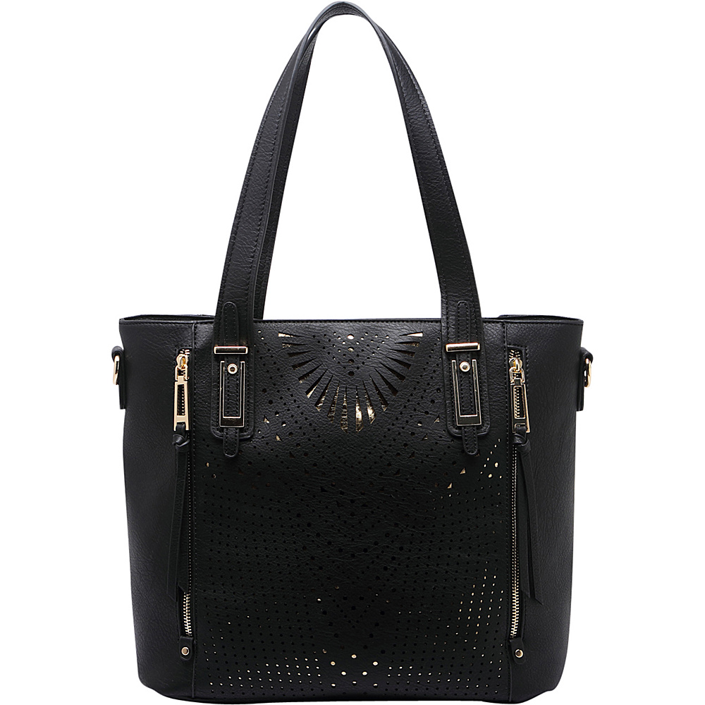 MKF Collection by Mia K. Farrow Faye Drive Laser-Cut Shoulder Bag Black - MKF Collection by Mia K. Farrow Manmade Handbags - Handbags, Manmade Handbags