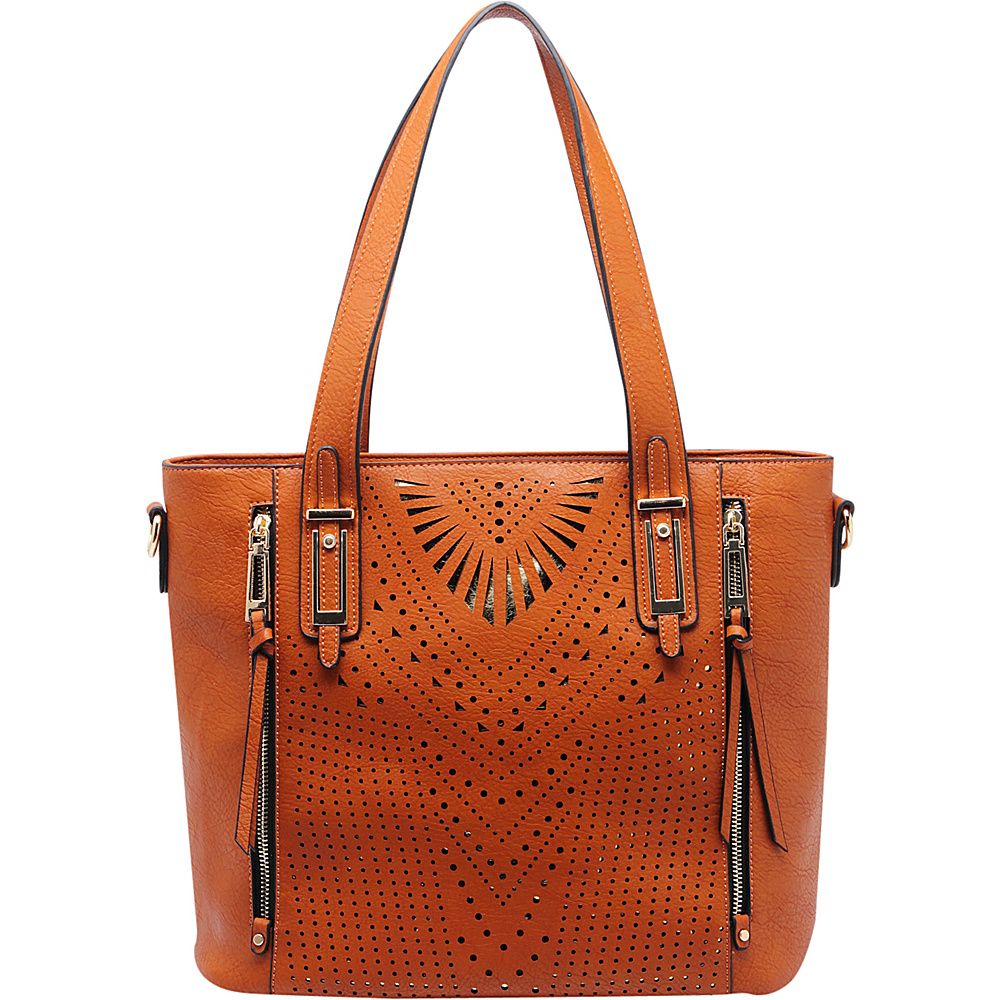 MKF Collection by Mia K. Farrow Faye Drive Laser-Cut Shoulder Bag Brown - MKF Collection by Mia K. Farrow Manmade Handbags - Handbags, Manmade Handbags
