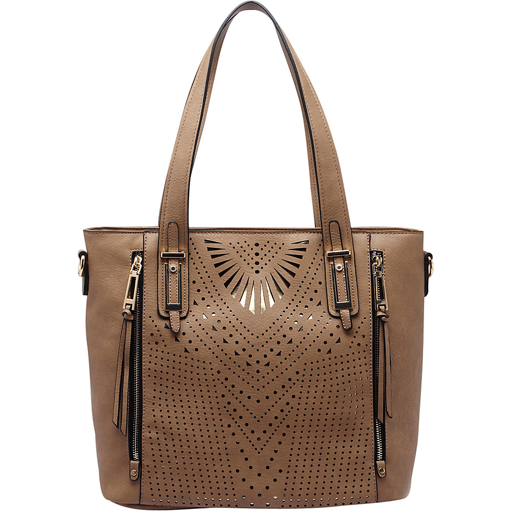 MKF Collection by Mia K. Farrow Faye Drive Laser-Cut Shoulder Bag Khaki - MKF Collection by Mia K. Farrow Manmade Handbags - Handbags, Manmade Handbags