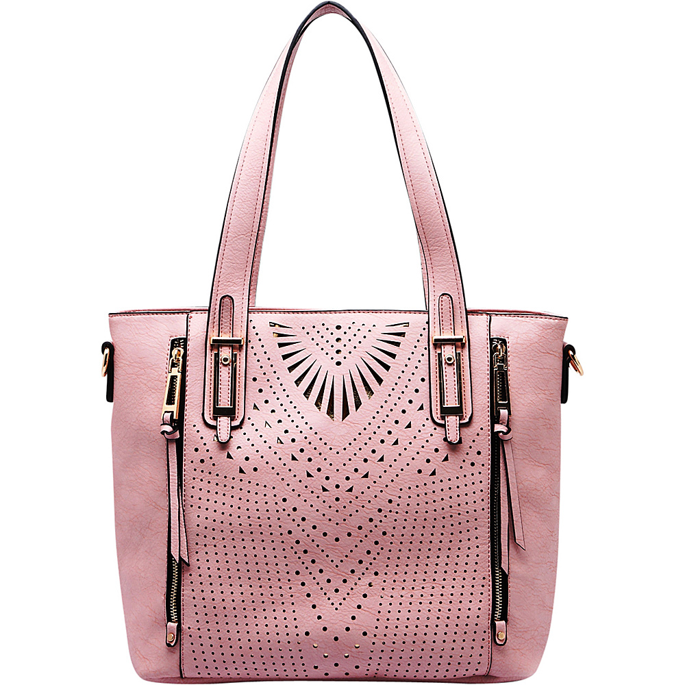 MKF Collection by Mia K. Farrow Faye Drive Laser-Cut Shoulder Bag Pink - MKF Collection by Mia K. Farrow Manmade Handbags - Handbags, Manmade Handbags